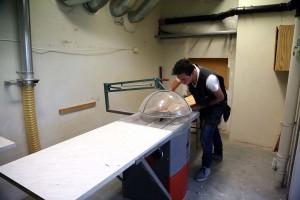 I det som tidligere har vært sløydsal er det lagt opp til ventilasjon/avsug som er tilpasset produksjon.